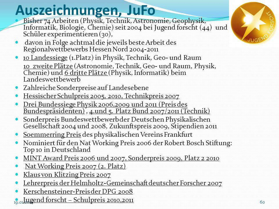 6019.01.2014 Auszeichnungen, JuFo Bisher 74 Arbeiten (Physik, Technik, Astronomie, Geophysik, Informatik, Biologie, Chemie) seit 2004 bei Jugend forsc