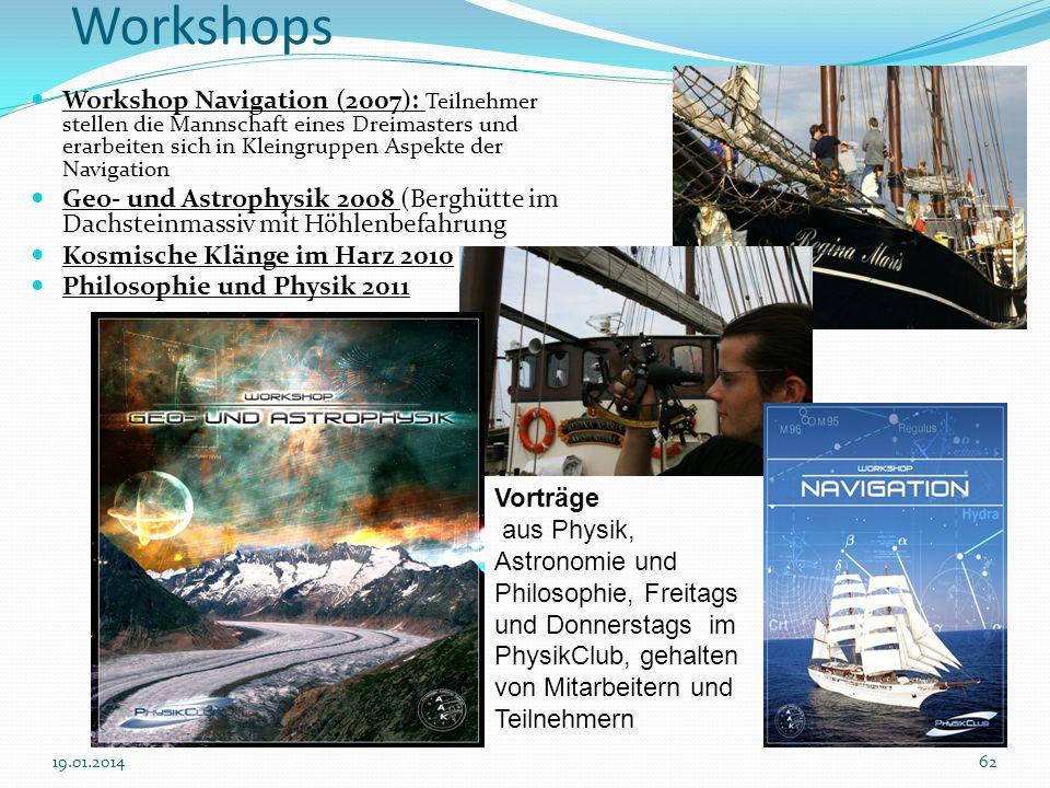 6219.01.2014 Workshops Workshop Navigation (2007): Teilnehmer stellen die Mannschaft eines Dreimasters und erarbeiten sich in Kleingruppen Aspekte der