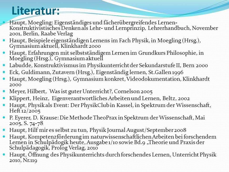Literatur: Haupt, Moegling: Eigenständiges und fächerübergreifendes Lernen- Konstruktivistisches Denken als Lehr- und Lernprinzip, Lehrerhandbuch, Nov