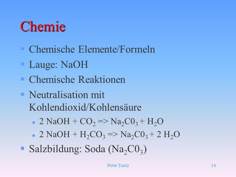 Peter Tautz14 Chemie §Chemische Elemente/Formeln §Lauge: NaOH §Chemische Reaktionen §Neutralisation mit Kohlendioxid/Kohlensäure l 2 NaOH + CO 2 => Na