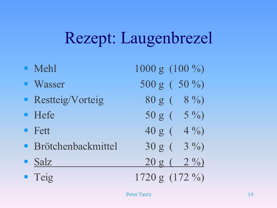 Peter Tautz19 Rezept: Laugenbrezel §Mehl 1000 g (100 %) §Wasser 500 g ( 50 %) §Restteig/Vorteig 80 g ( 8 %) §Hefe 50 g ( 5 %) §Fett 40 g ( 4 %) §Brötc