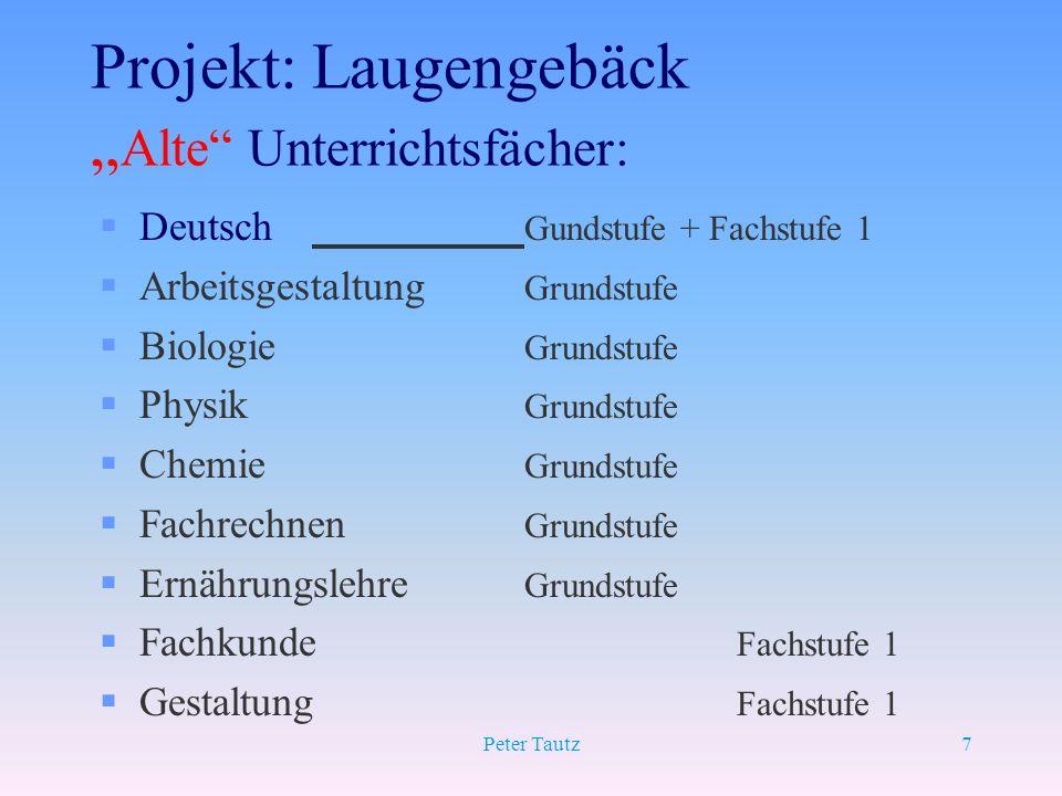 Peter Tautz7 Projekt: Laugengebäck Alte Unterrichtsfächer: §Deutsch Gundstufe + Fachstufe 1 §Arbeitsgestaltung Grundstufe §Biologie Grundstufe §Physik