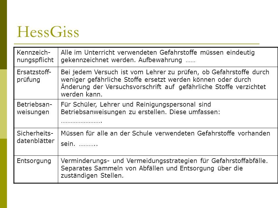 HessGiss Kennzeich- nungspflicht Alle im Unterricht verwendeten Gefahrstoffe müssen eindeutig gekennzeichnet werden. Aufbewahrung …… Ersatzstoff- prüf
