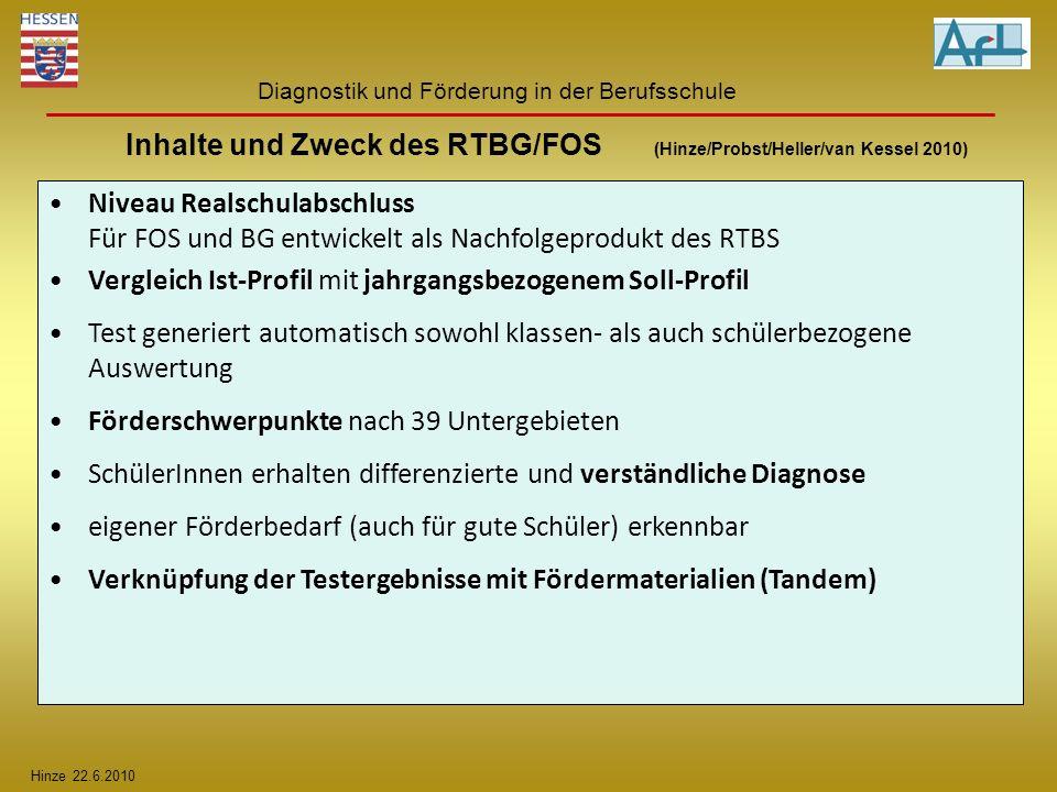 Hinze 22.6.2010 Diagnostik und Förderung in der Berufsschule Inhalte und Zweck des RTBG/FOS (Hinze/Probst/Heller/van Kessel 2010) Niveau Realschulabsc