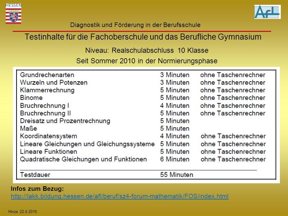 Hinze 22.6.2010 Diagnostik und Förderung in der Berufsschule Testinhalte für die Fachoberschule und das Berufliche Gymnasium Niveau: Realschulabschlus