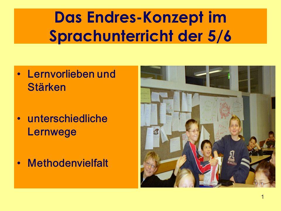 1 Das Endres-Konzept im Sprachunterricht der 5/6 Lernvorlieben und Stärken unterschiedliche Lernwege Methodenvielfalt