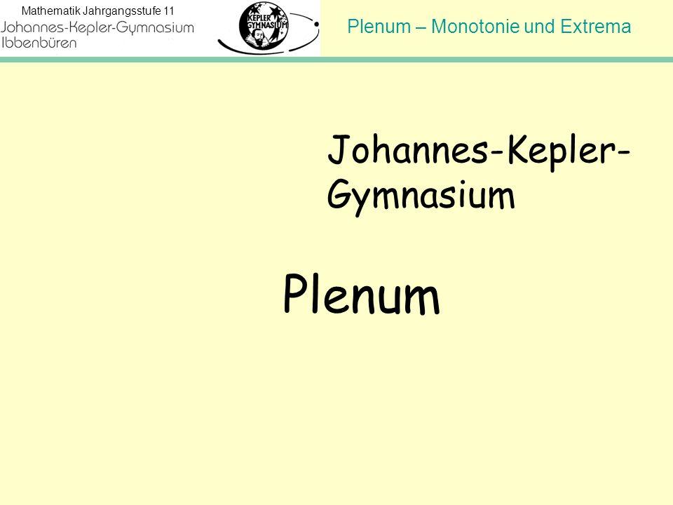 Plenum – Monotonie und Extrema Mathematik Jahrgangsstufe 11 Johannes-Kepler- Gymnasium Plenum