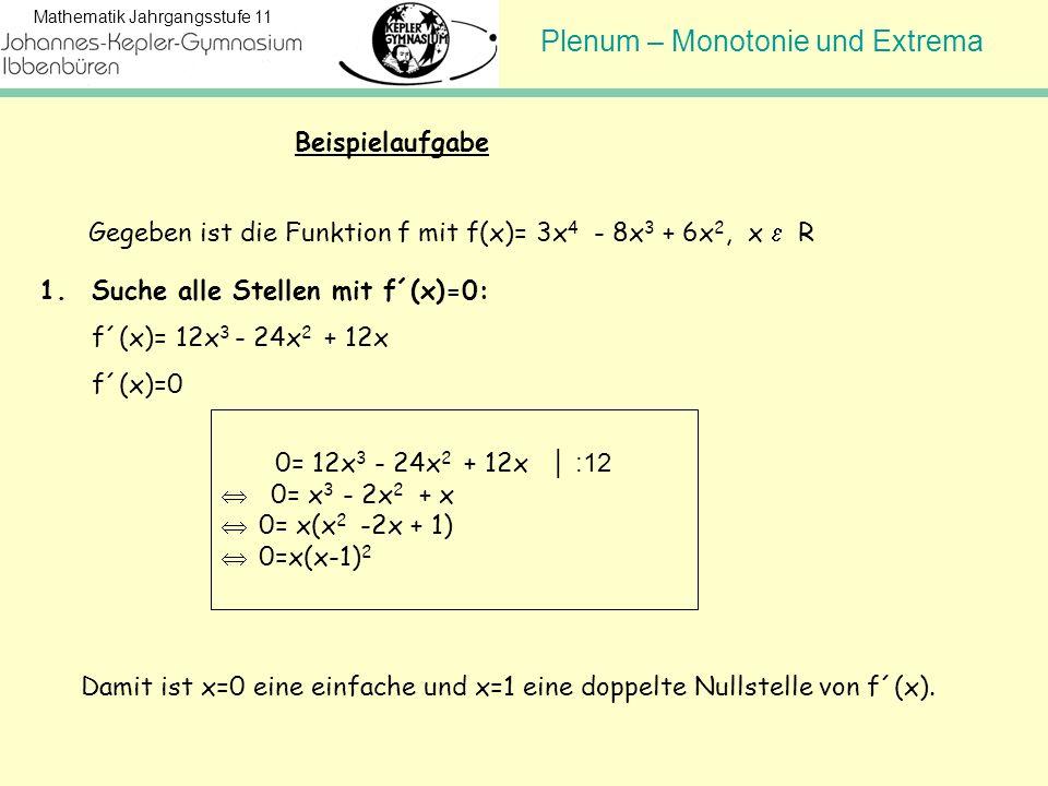Plenum – Monotonie und Extrema Mathematik Jahrgangsstufe 11 1.Suche alle Stellen mit f´(x)=0: f´(x)= 12x 3 - 24x 2 + 12x f´(x)=0 Beispielaufgabe 0= 12