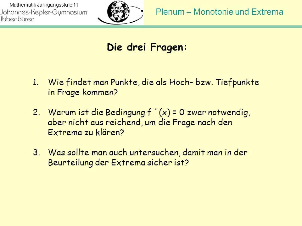 Plenum – Monotonie und Extrema Mathematik Jahrgangsstufe 11 Die drei Fragen: 1.Wie findet man Punkte, die als Hoch- bzw. Tiefpunkte in Frage kommen? 2
