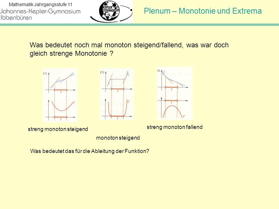 Plenum – Monotonie und Extrema Mathematik Jahrgangsstufe 11 Was bedeutet noch mal monoton steigend/fallend, was war doch gleich strenge Monotonie ? st