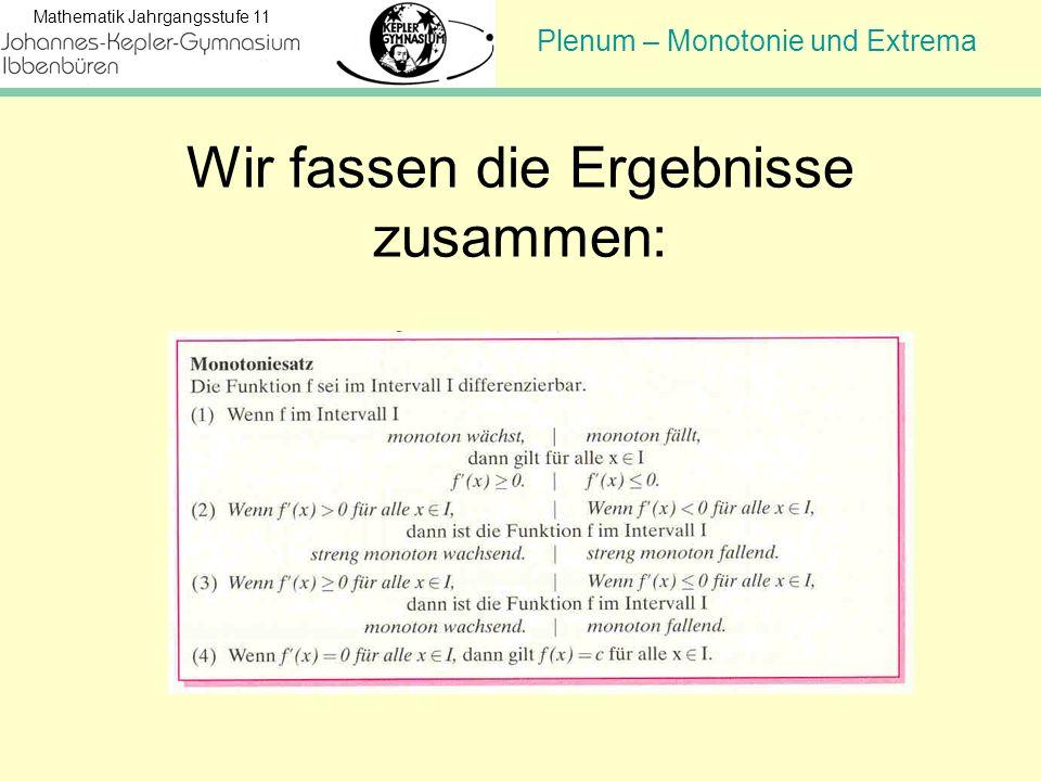 Plenum – Monotonie und Extrema Mathematik Jahrgangsstufe 11 Wir fassen die Ergebnisse zusammen: