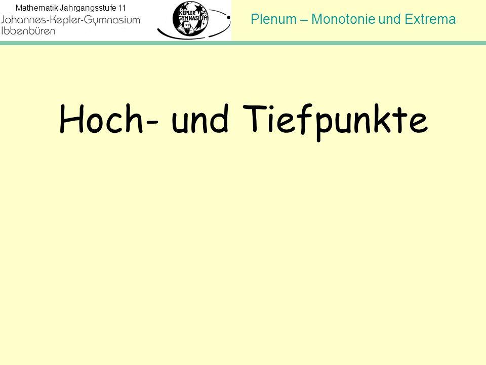 Plenum – Monotonie und Extrema Mathematik Jahrgangsstufe 11 Hoch- und Tiefpunkte