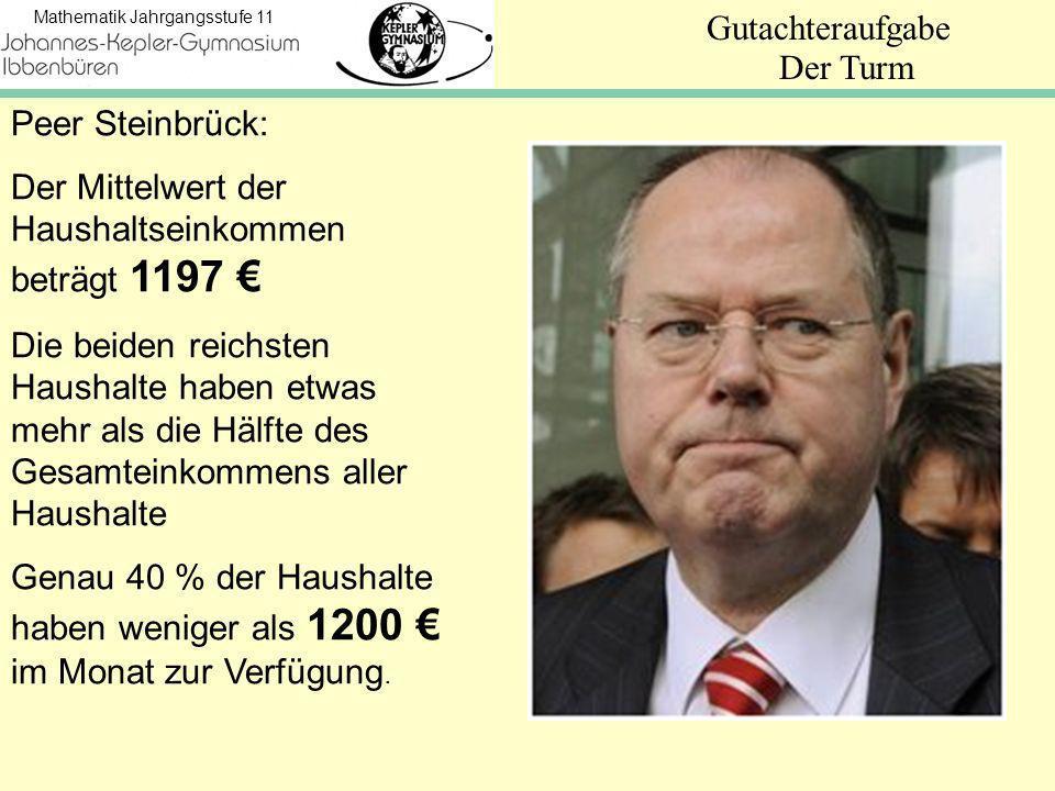 Mathematik Jahrgangsstufe 11 Gutachteraufgabe Der Turm Peer Steinbrück: Der Mittelwert der Haushaltseinkommen beträgt 1197 Die beiden reichsten Haushalte haben etwas mehr als die Hälfte des Gesamteinkommens aller Haushalte Genau 40 % der Haushalte haben weniger als 1200 im Monat zur Verfügung.