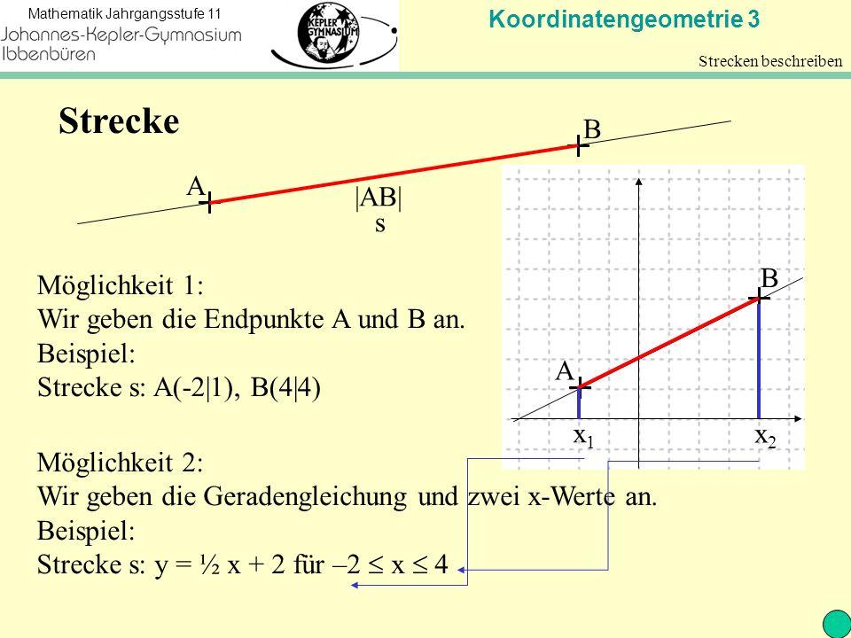 Koordinatengeometrie 3 Mathematik Jahrgangsstufe 11 Strecken beschreiben A B |AB| Möglichkeit 1: Wir geben die Endpunkte A und B an.
