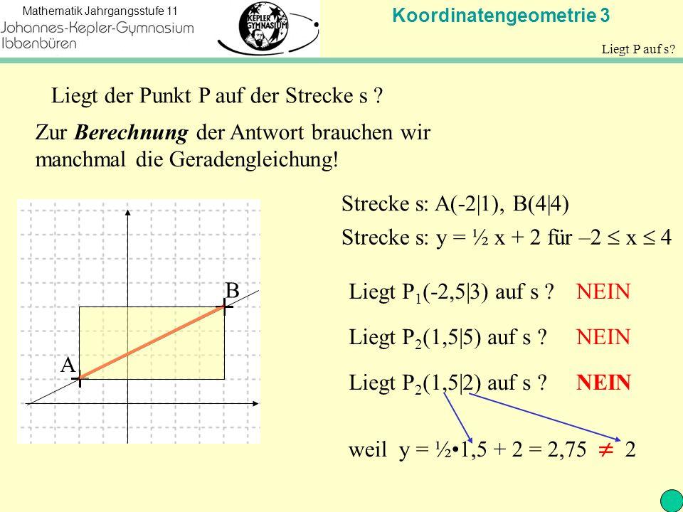 Koordinatengeometrie 3 Mathematik Jahrgangsstufe 11 Mittelpunkt Wie berechnet man den Mittelpunkt einer Strecke.