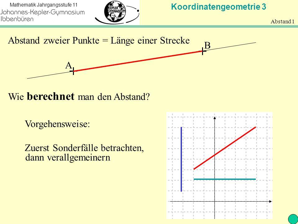 Koordinatengeometrie 3 Mathematik Jahrgangsstufe 11 Abstand 1 A B Abstand zweier Punkte = Länge einer Strecke Wie berechnet man den Abstand.