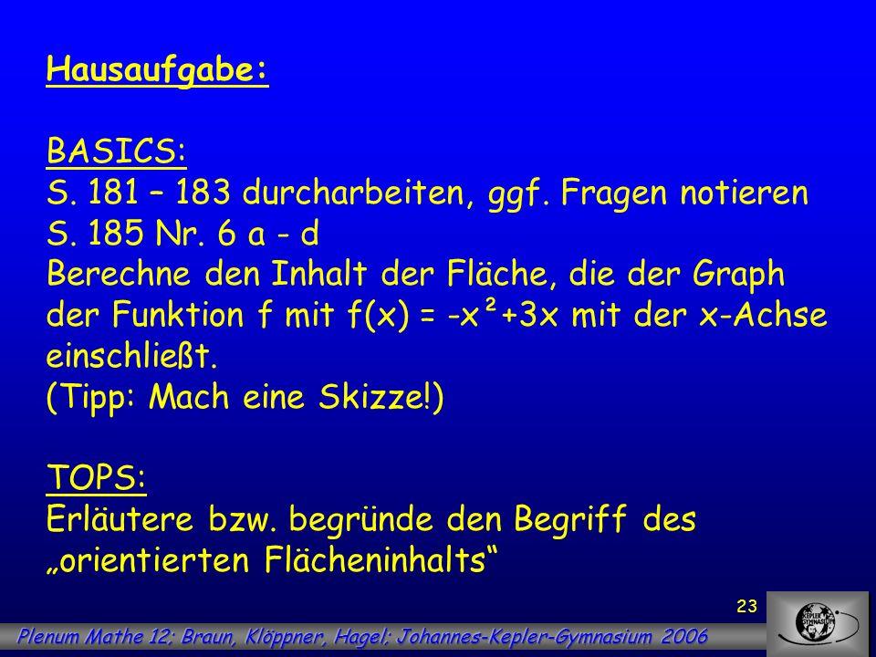 23 Hausaufgabe: BASICS: S. 181 – 183 durcharbeiten, ggf. Fragen notieren S. 185 Nr. 6 a - d Berechne den Inhalt der Fläche, die der Graph der Funktion