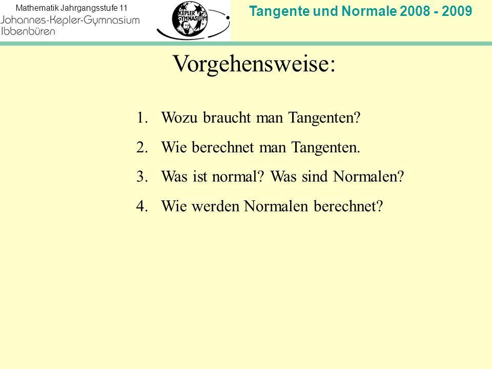 Tangente und Normale 2008 - 2009 Mathematik Jahrgangsstufe 11 Steigung der Tangente in P(3 f(3)) Stopp.