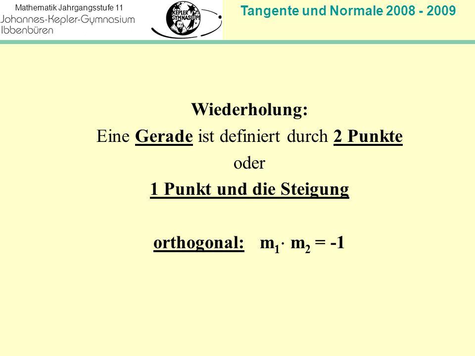 Tangente und Normale 2008 - 2009 Mathematik Jahrgangsstufe 11 Wiederholung: Eine Gerade ist definiert durch 2 Punkte oder 1 Punkt und die Steigung orthogonal: m 1 m 2 = -1