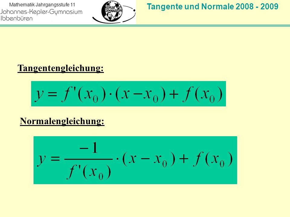 Tangente und Normale 2008 - 2009 Mathematik Jahrgangsstufe 11 Tangentengleichung: Normalengleichung: