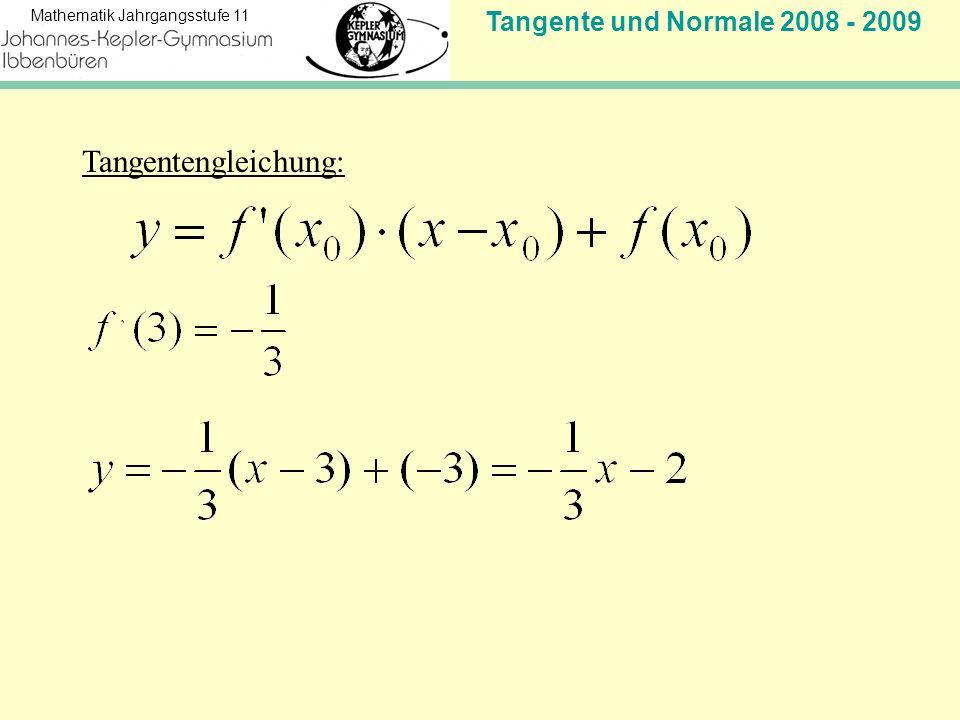 Tangente und Normale 2008 - 2009 Mathematik Jahrgangsstufe 11 Tangentengleichung:
