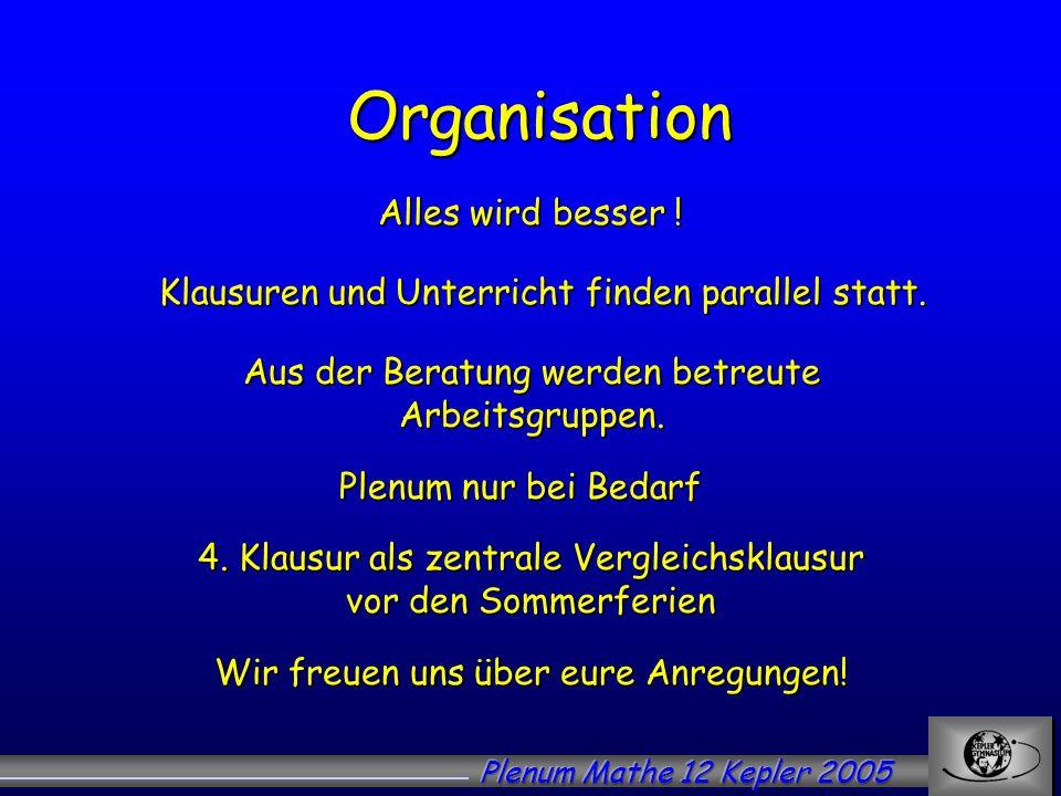 Organisation Alles wird besser ! Klausuren und Unterricht finden parallel statt. Plenum nur bei Bedarf 4. Klausur als zentrale Vergleichsklausur vor d
