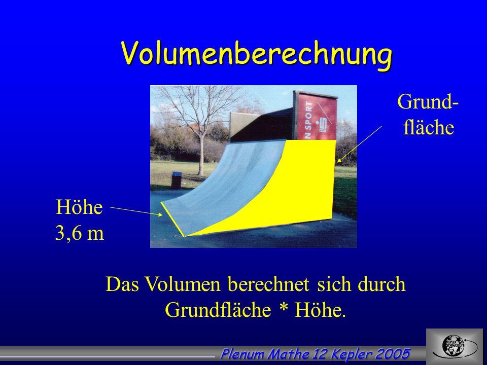 Volumenberechnung Das Volumen berechnet sich durch Grundfläche * Höhe. Höhe 3,6 m Grund- fläche