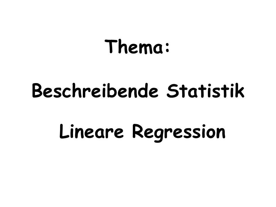 Thema: Beschreibende Statistik Lineare Regression