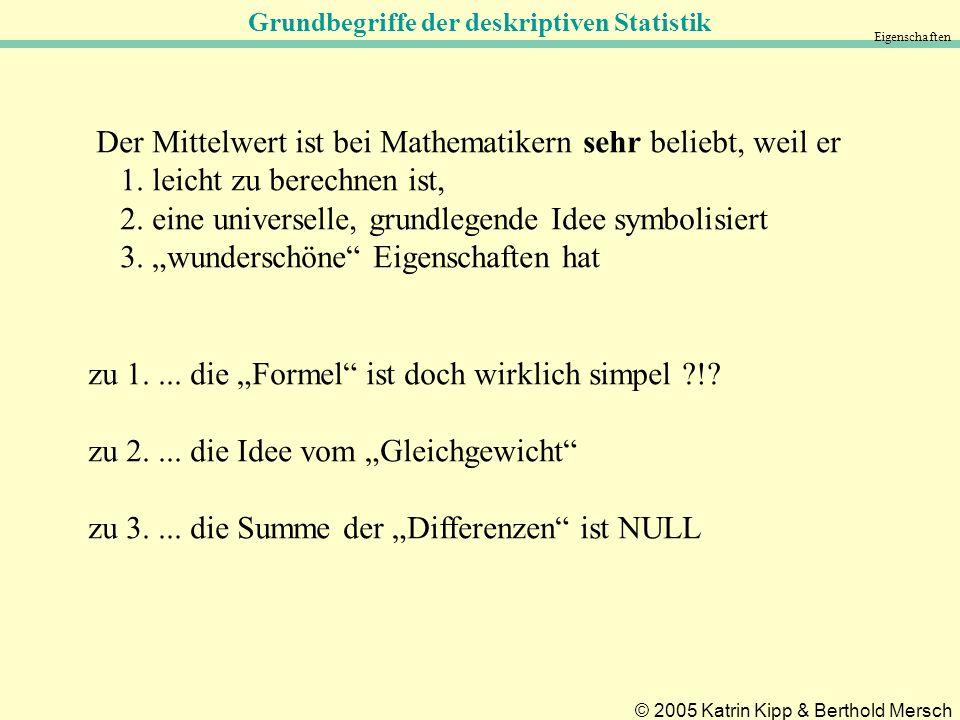 Grundbegriffe der deskriptiven Statistik © 2005 Katrin Kipp & Berthold Mersch Eigenschaften Der Mittelwert ist bei Mathematikern sehr beliebt, weil er 1.
