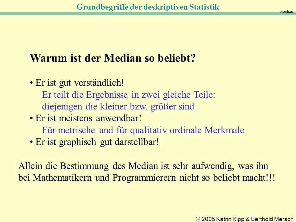 Grundbegriffe der deskriptiven Statistik © 2005 Katrin Kipp & Berthold Mersch Median Warum ist der Median so beliebt.