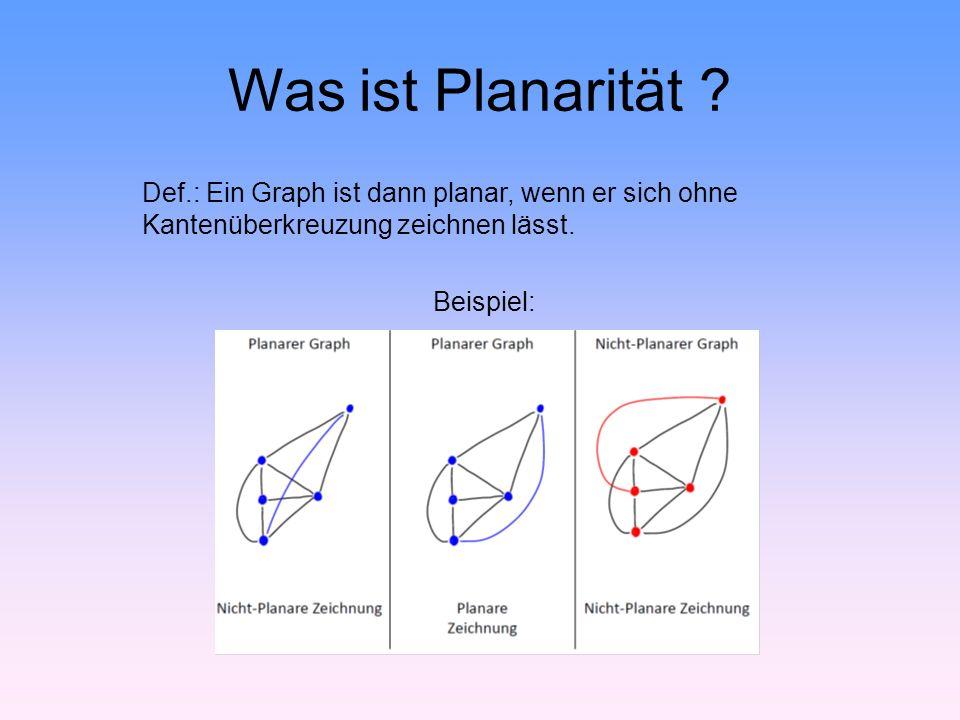 Projektziele Zu gegebenen Graphen überprüfen, ob dieser planar ist (und ggf.