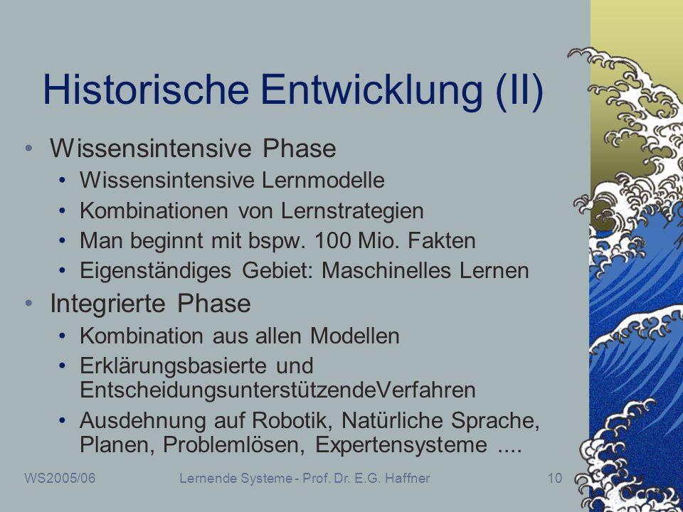 WS2005/06Lernende Systeme - Prof. Dr. E.G. Haffner10 Historische Entwicklung (II) Wissensintensive Phase Wissensintensive Lernmodelle Kombinationen vo