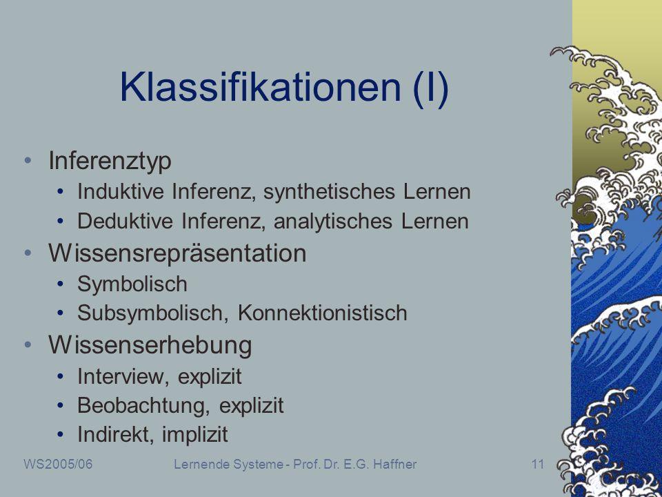 WS2005/06Lernende Systeme - Prof. Dr. E.G. Haffner11 Klassifikationen (I) Inferenztyp Induktive Inferenz, synthetisches Lernen Deduktive Inferenz, ana