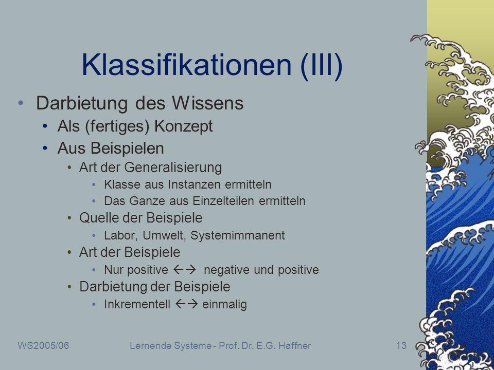 WS2005/06Lernende Systeme - Prof. Dr. E.G. Haffner13 Klassifikationen (III) Darbietung des Wissens Als (fertiges) Konzept Aus Beispielen Art der Gener