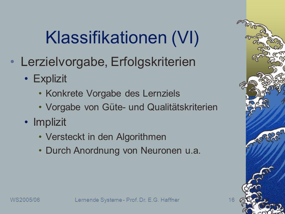 WS2005/06Lernende Systeme - Prof. Dr. E.G. Haffner16 Klassifikationen (VI) Lerzielvorgabe, Erfolgskriterien Explizit Konkrete Vorgabe des Lernziels Vo