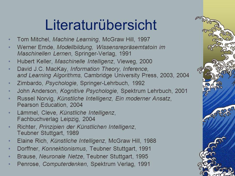 Literaturübersicht Tom Mitchel, Machine Learning, McGraw Hill, 1997 Werner Emde, Modellbildung, Wissensrepräsemtatoin im Maschinellen Lernen, Springer