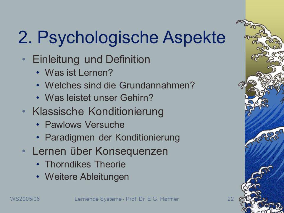 WS2005/06Lernende Systeme - Prof. Dr. E.G. Haffner22 2. Psychologische Aspekte Einleitung und Definition Was ist Lernen? Welches sind die Grundannahme