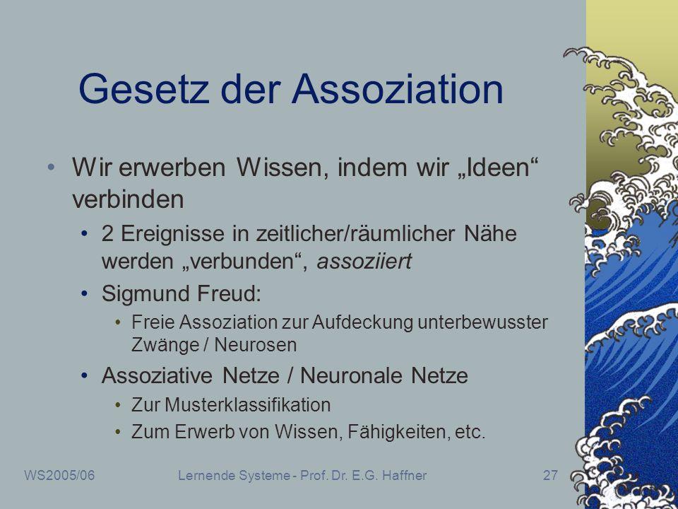 WS2005/06Lernende Systeme - Prof. Dr. E.G. Haffner27 Gesetz der Assoziation Wir erwerben Wissen, indem wir Ideen verbinden 2 Ereignisse in zeitlicher/