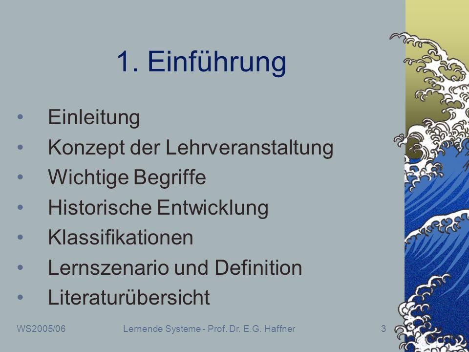 WS2005/06Lernende Systeme - Prof. Dr. E.G. Haffner3 1. Einführung Einleitung Konzept der Lehrveranstaltung Wichtige Begriffe Historische Entwicklung K