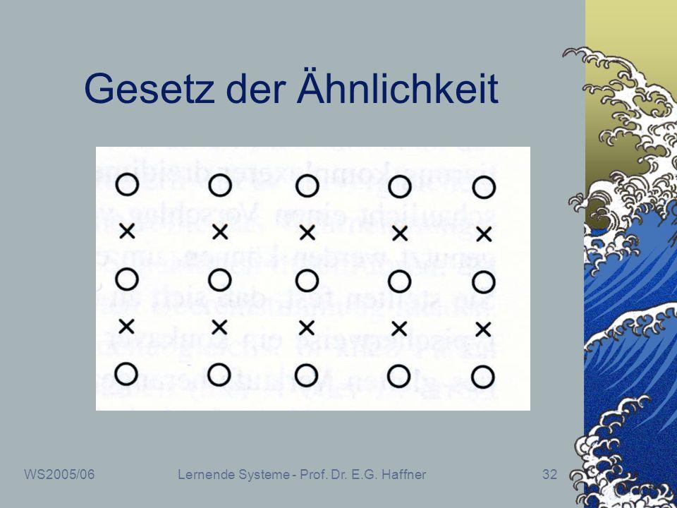 WS2005/06Lernende Systeme - Prof. Dr. E.G. Haffner32 Gesetz der Ähnlichkeit
