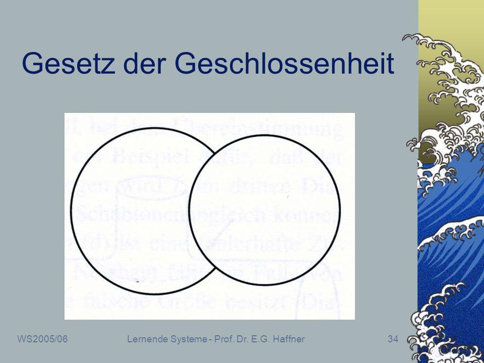 WS2005/06Lernende Systeme - Prof. Dr. E.G. Haffner34 Gesetz der Geschlossenheit