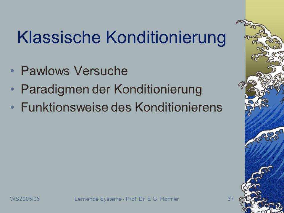 WS2005/06Lernende Systeme - Prof. Dr. E.G. Haffner37 Klassische Konditionierung Pawlows Versuche Paradigmen der Konditionierung Funktionsweise des Kon