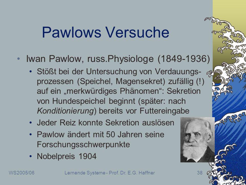 WS2005/06Lernende Systeme - Prof. Dr. E.G. Haffner38 Pawlows Versuche Iwan Pawlow, russ.Physiologe (1849-1936) Stößt bei der Untersuchung von Verdauun