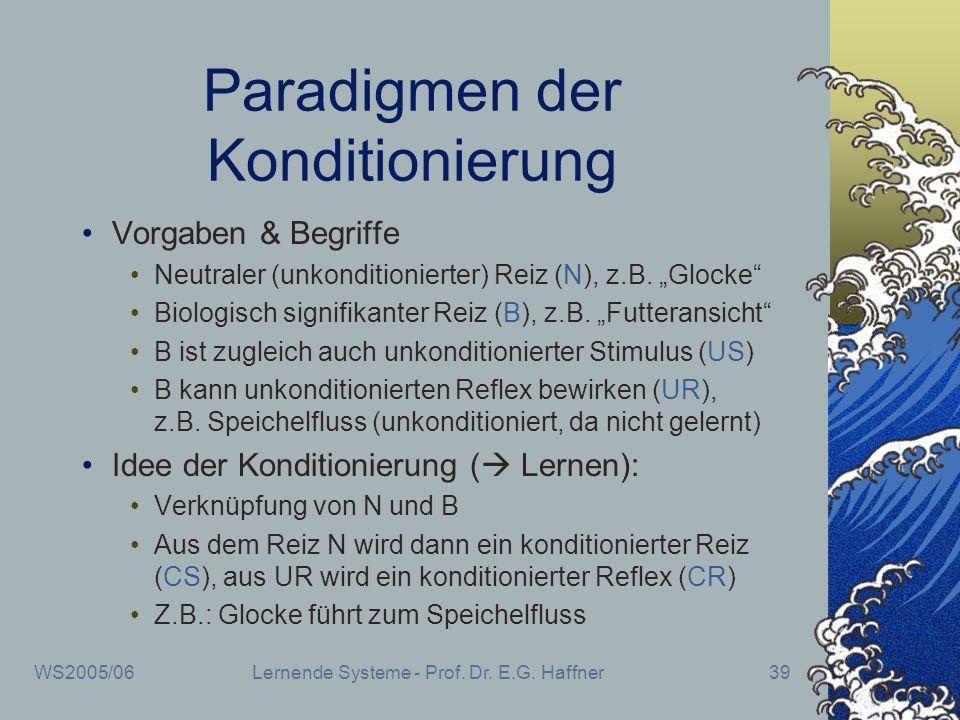 WS2005/06Lernende Systeme - Prof. Dr. E.G. Haffner39 Paradigmen der Konditionierung Vorgaben & Begriffe Neutraler (unkonditionierter) Reiz (N), z.B. G
