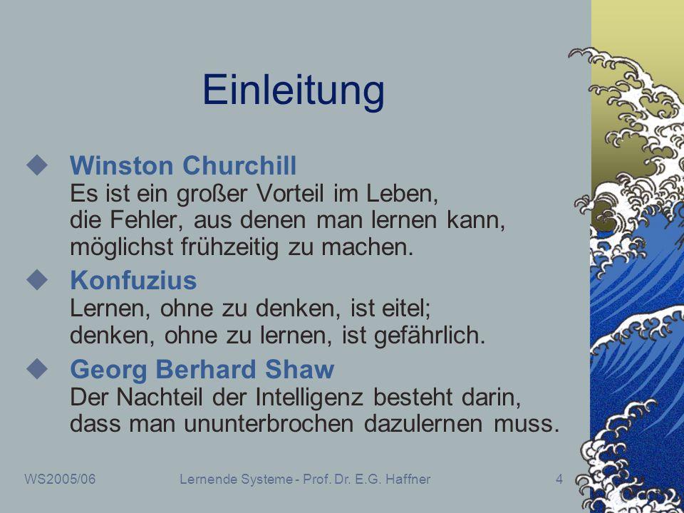WS2005/06Lernende Systeme - Prof. Dr. E.G. Haffner4 Einleitung Winston Churchill Es ist ein großer Vorteil im Leben, die Fehler, aus denen man lernen