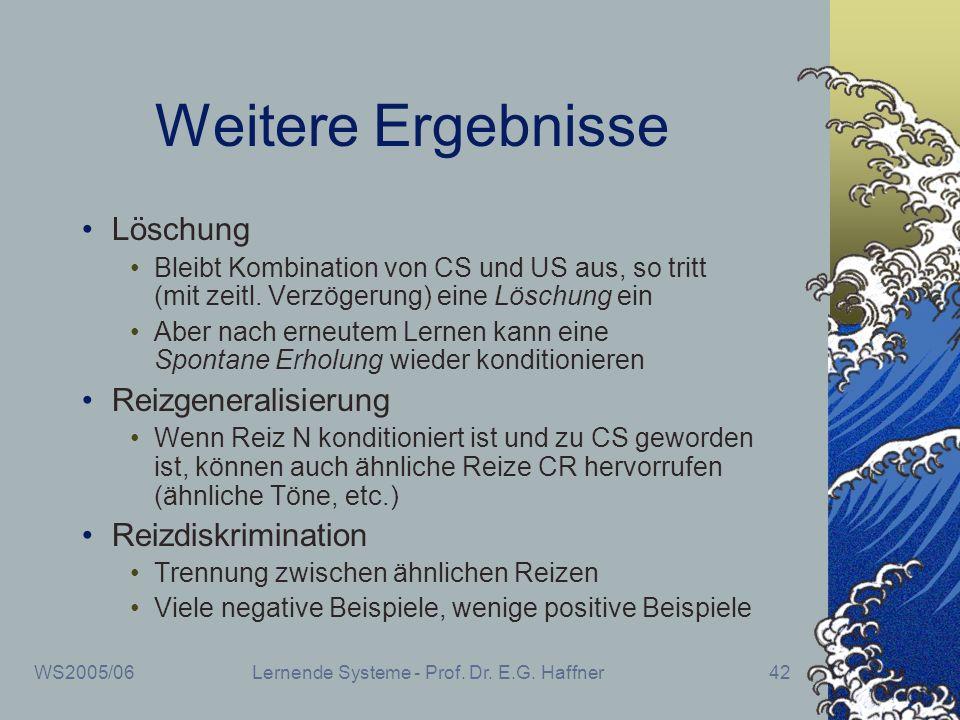 WS2005/06Lernende Systeme - Prof. Dr. E.G. Haffner42 Weitere Ergebnisse Löschung Bleibt Kombination von CS und US aus, so tritt (mit zeitl. Verzögerun