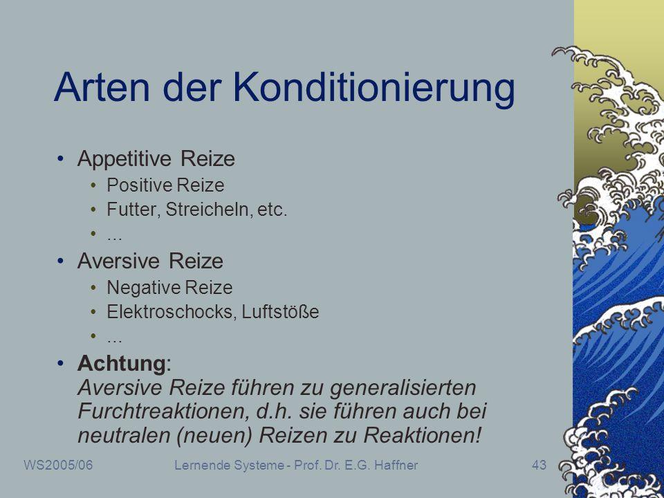 WS2005/06Lernende Systeme - Prof. Dr. E.G. Haffner43 Arten der Konditionierung Appetitive Reize Positive Reize Futter, Streicheln, etc.... Aversive Re