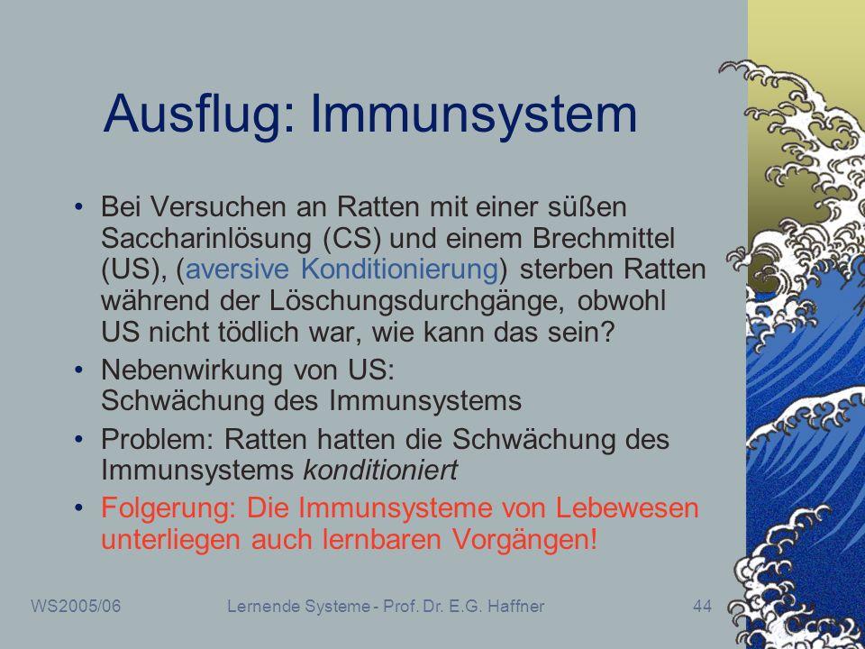 WS2005/06Lernende Systeme - Prof. Dr. E.G. Haffner44 Ausflug: Immunsystem Bei Versuchen an Ratten mit einer süßen Saccharinlösung (CS) und einem Brech