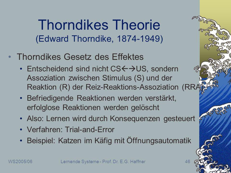 WS2005/06Lernende Systeme - Prof. Dr. E.G. Haffner46 Thorndikes Theorie (Edward Thorndike, 1874-1949) Thorndikes Gesetz des Effektes Entscheidend sind