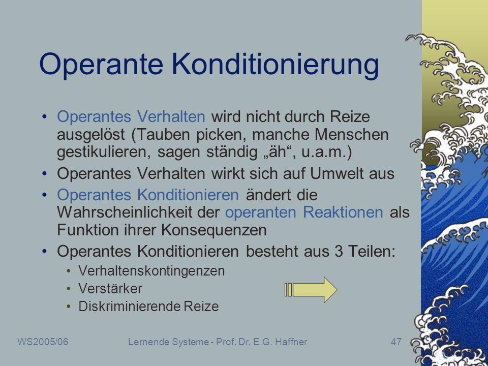 WS2005/06Lernende Systeme - Prof. Dr. E.G. Haffner47 Operante Konditionierung Operantes Verhalten wird nicht durch Reize ausgelöst (Tauben picken, man